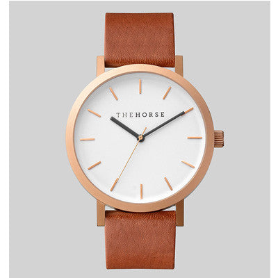 The Horse Watch Brushed Rose / Walnut Leather
