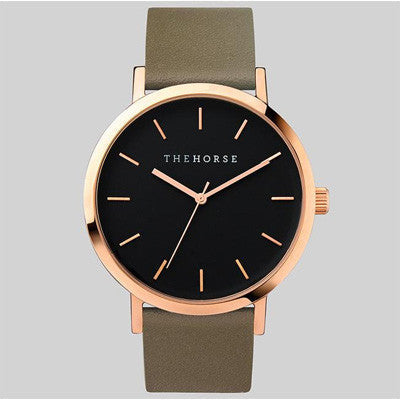 The Horse Watch Original - Polished Rose Gold/Black Face/Olive Band
