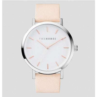 The Horse Watch Polished Steel / White Face with Rose Gold Indexing