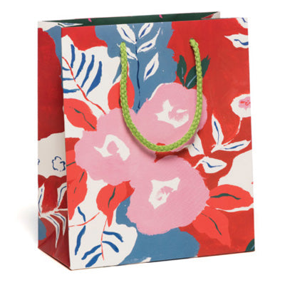 Red Cap Gift Bag - Ruby Red Flowers
