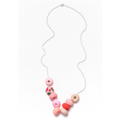 Emily Green Necklace - Salmon Pink Ink 9 Bead
