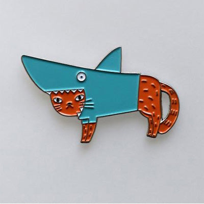Surfing Sloth Pins - Shark Cat (Orange)