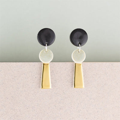 Erin Lightfoot Porcelain Earrings - Small Black & Gold Tassels