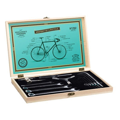 Gentlemen's Hardware - Bicycle Tool Kit Wooden Box and Stainless Steel Tools