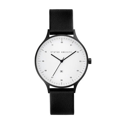 Status Anxiety Inertia Watch - Matte Black/White Face/Black Leather Strap