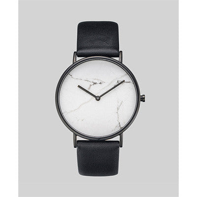 The Horse Watch Stone - White Marble/Black Leather