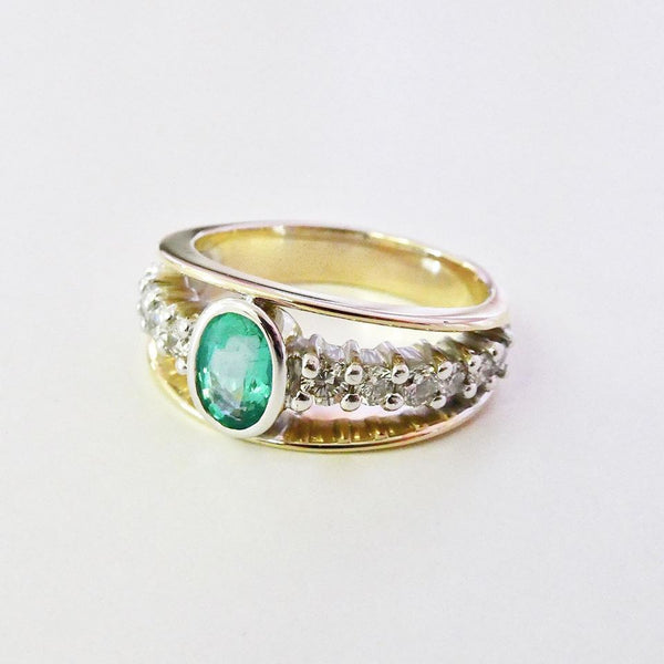 Remodelled Natural Emerald & Diamond Ring