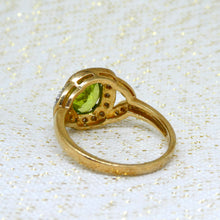 Load image into Gallery viewer, Peridot and Diamond Ring in 9ct Yellow Gold at Brisbane Manufacturing Jewellers, Delross Design Jewellers, in Chermside West, Brisbane