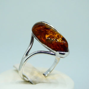 Amber Marquise Ring Sterling Silver 4