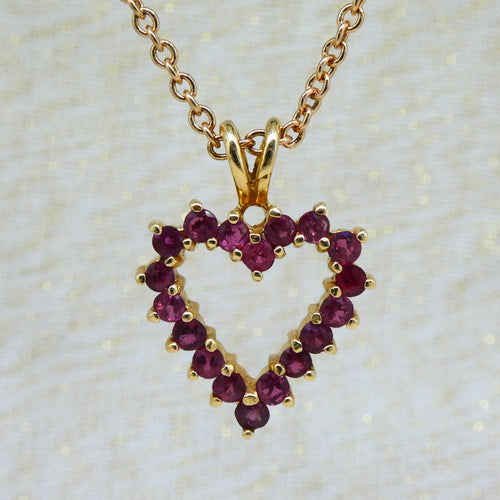 Ruby Heart Pendant in 14ct yellow gold at local Family Owned Jeweller 'Delross Design Jewellers' in Chermside West.