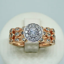 Load image into Gallery viewer, 3-Ring Diamond Bridal Set 9ct Rose Gold 1
