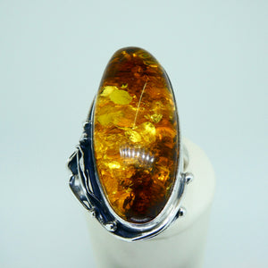 Amber Ring Oval Sterling Silver 3