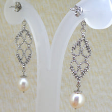 Load image into Gallery viewer, Sterling Silver Ornate Pearl Earrings