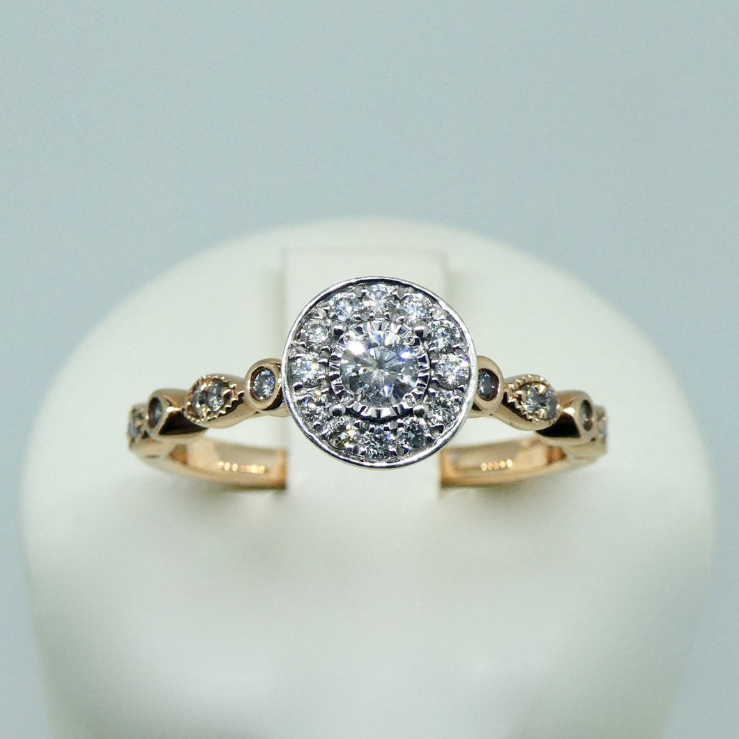 9ct Diamond Ring Rose Gold 1