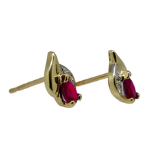 Load image into Gallery viewer, 9ct Ruby and Diamond Stud Earrings 2
