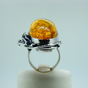 Amber Ring Oval Sterling Silver 6