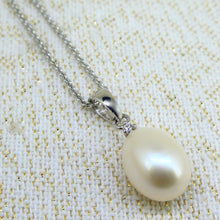 Load image into Gallery viewer, Sterling Silver Pearl & CZ Pendant