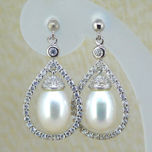 Load image into Gallery viewer, Sterling Silver Pearl & CZ Dress Earrings