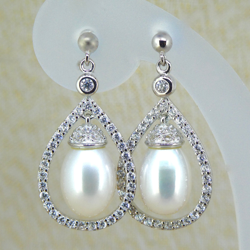 Sterling Silver Pearl & CZ Dress Earrings