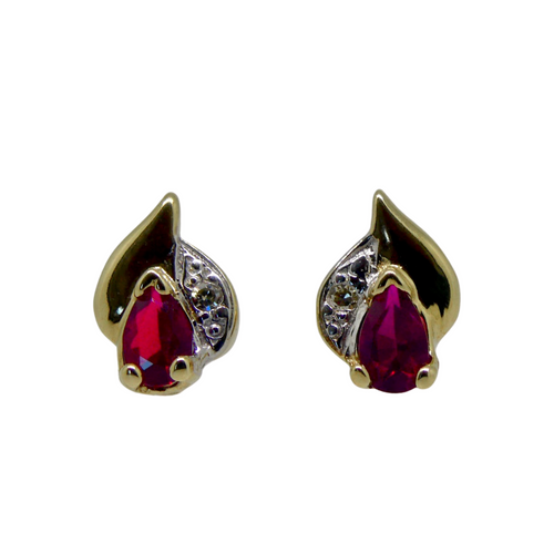 9ct Ruby and Diamond Stud Earrings 1