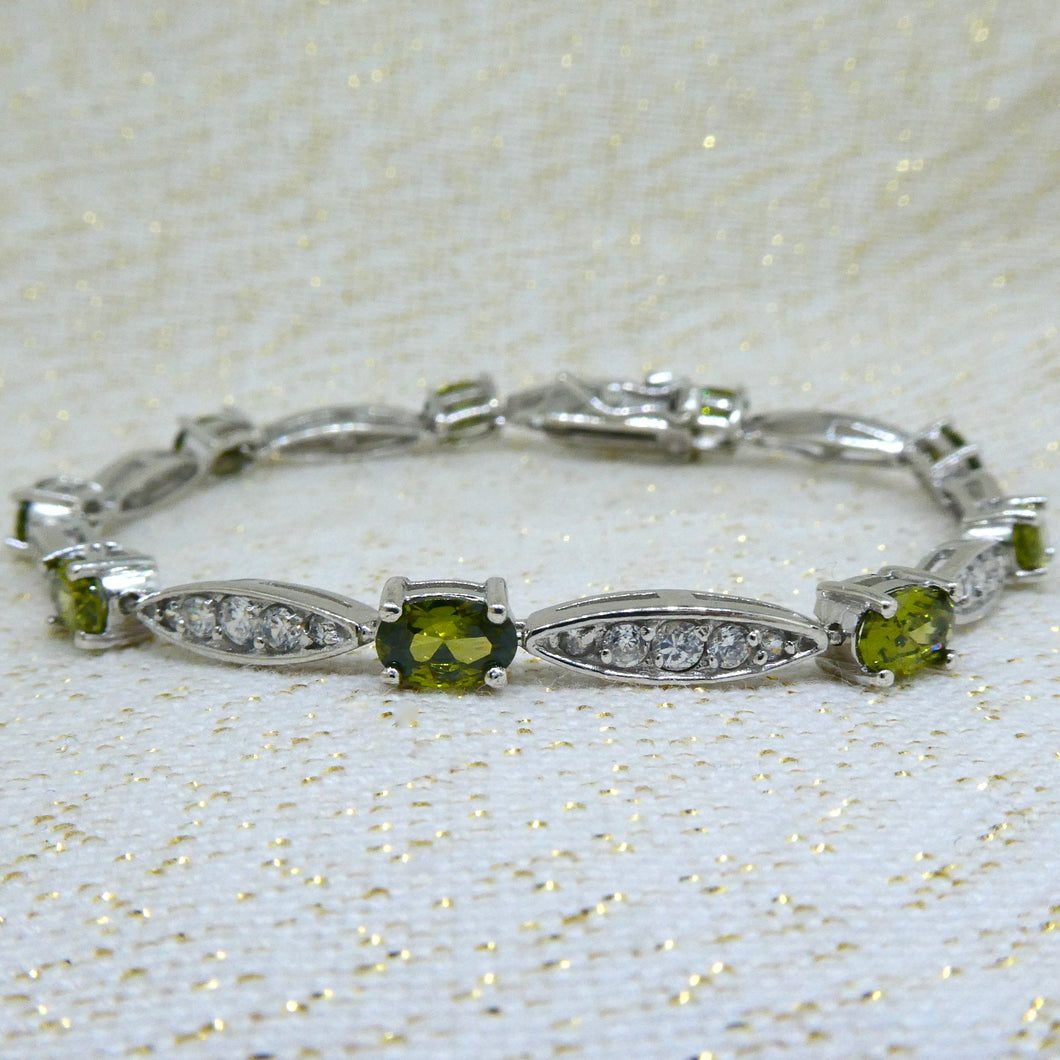 Peridot and Diamond Bracelet in Sterling Silver 925 at local Family Owned Jeweller 'Delross Design Jewellers' in Chermside West.