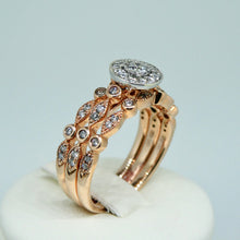 Load image into Gallery viewer, 3-Ring Diamond Bridal Set 9ct Rose Gold 4