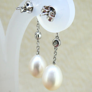 Sterling Silver Pearl & CZ Chain Earrings