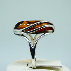 Amber Marquise Ring Sterling Silver 7