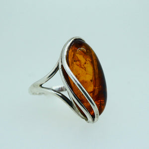 Amber Marquise Ring Sterling Silver 9