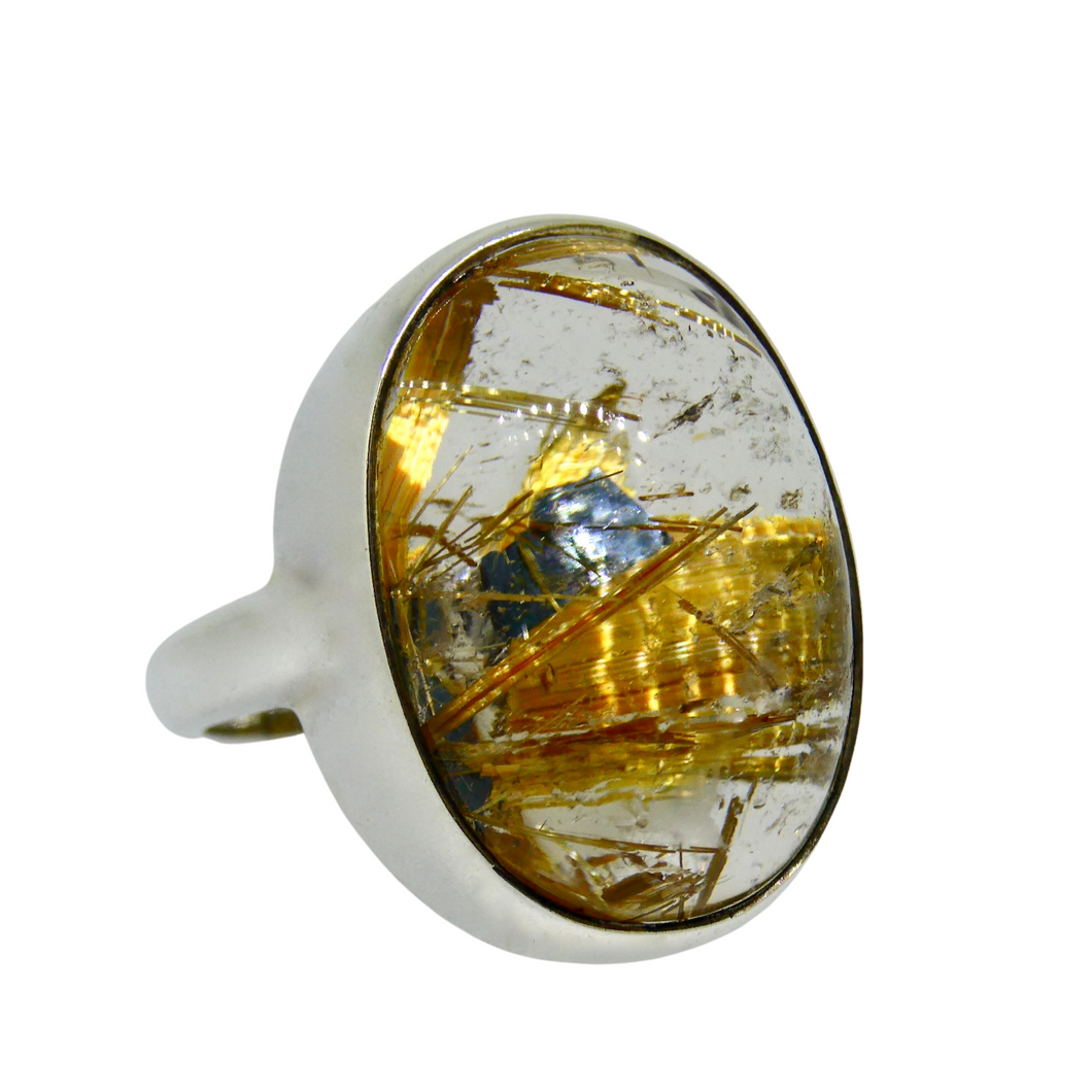 Silver Rutilated Quartz Ring