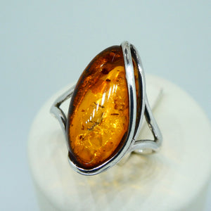 Amber Marquise Ring Sterling Silver 3