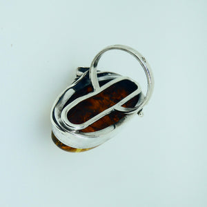 Amber Ring Oval Sterling Silver 9