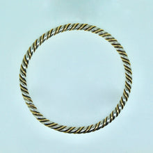 Load image into Gallery viewer, Handmade Silver & 9ct Gold Round Bangle 65mm