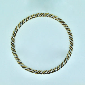 Handmade Silver & 9ct Gold Round Bangle 65mm