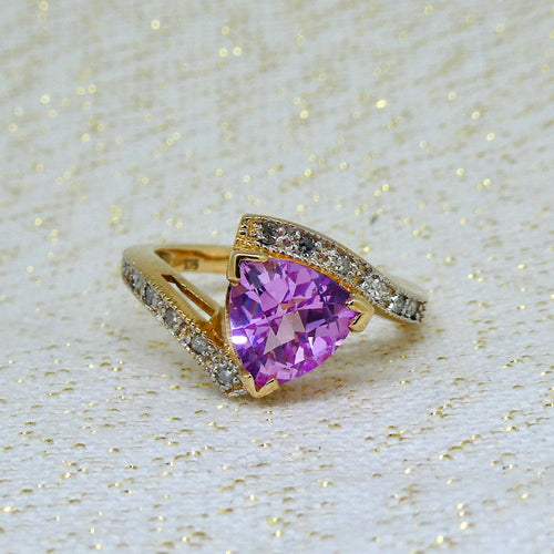 Pink Sapphire and Diamond Ring in 9ct Yellow Gold at Brisbane Manufacturing Jewellers, Delross Design Jewellers, in Chermside West, Brisbane