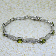 Load image into Gallery viewer, Peridot and Diamond Bracelet in Sterling Silver 925 at local Family Owned Jeweller 'Delross Design Jewellers' in Chermside West.