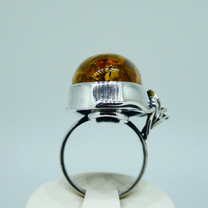 Amber Ring Oval Sterling Silver 8