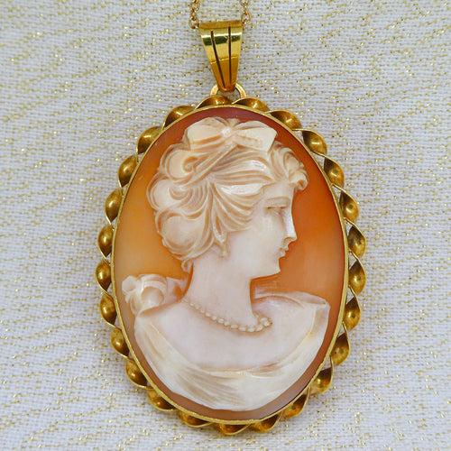 Cameo Antique Pendant Brooch in 14ct yellow gold at local Family Owned Jeweller 'Delross Design Jewellers' in Chermside West.