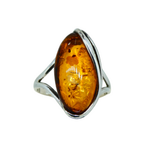Load image into Gallery viewer, Amber Marquise Ring Sterling Silver 1