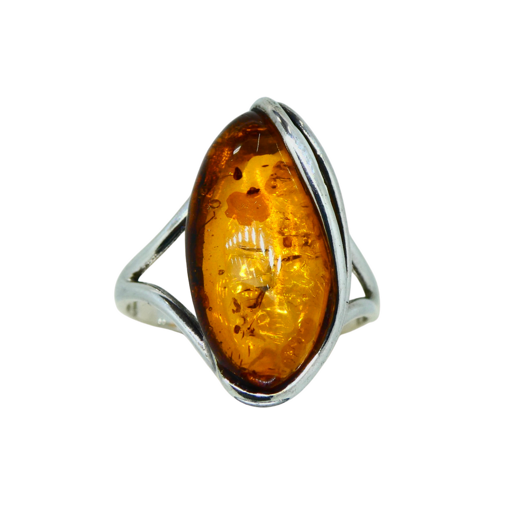 Amber Marquise Ring Sterling Silver 1