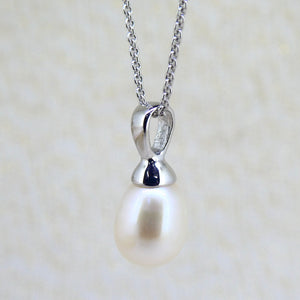 Sterling Silver Pearl Drop Pendant with Chain
