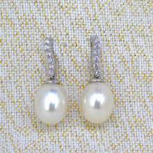 Load image into Gallery viewer, Sterling Silver Pearl & CZ Earrings