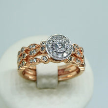 Load image into Gallery viewer, 3-Ring Diamond Bridal Set 9ct Rose Gold 2