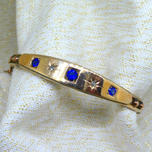 Load image into Gallery viewer, Sapphire and Diamond Antique Bangle in 9ct yellow gold at local Family Owned Jeweller 'Delross Design Jewellers' in Chermside West.
