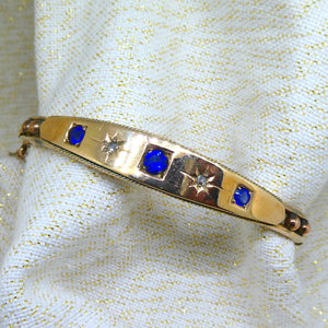 Sapphire and Diamond Antique Bangle in 9ct yellow gold at local Family Owned Jeweller 'Delross Design Jewellers' in Chermside West.