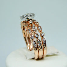 Load image into Gallery viewer, 3-Ring Diamond Bridal Set 9ct Rose Gold 5