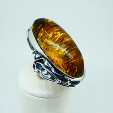 Load image into Gallery viewer, Amber Ring Oval Sterling Silver 2