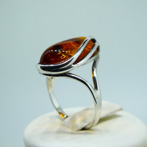 Amber Marquise Ring Sterling Silver 6