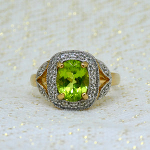 Peridot and Diamond Ring in 9ct Yellow Gold at Brisbane Manufacturing Jewellers, Delross Design Jewellers, in Chermside West, Brisbane