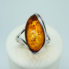 Load image into Gallery viewer, Amber Marquise Ring Sterling Silver 2